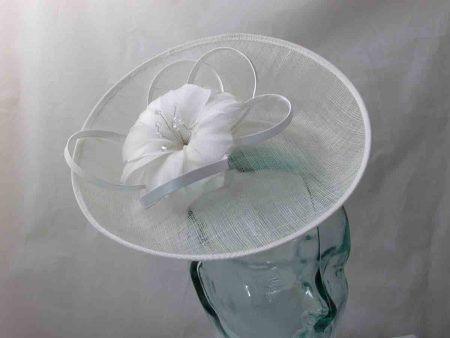 Sinamay hatinator with upturned brim in ivory