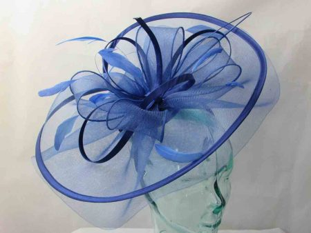 Large crin fascinator in colbalt blue