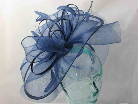 Large crin fascinator in navy