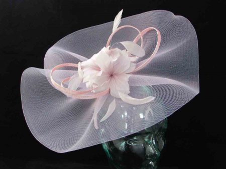 Large crin fascinator in chalk pink