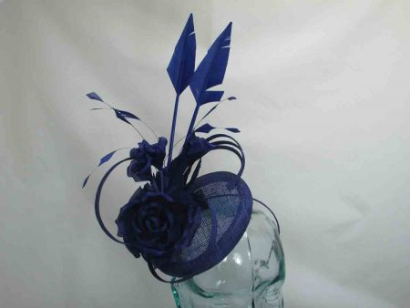 Small pillbox fascinator in royal blue