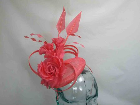 Small pillbox fascinator in coral