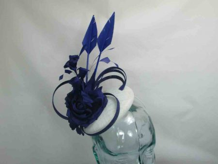Small pillbox fascinator in white and royal blue