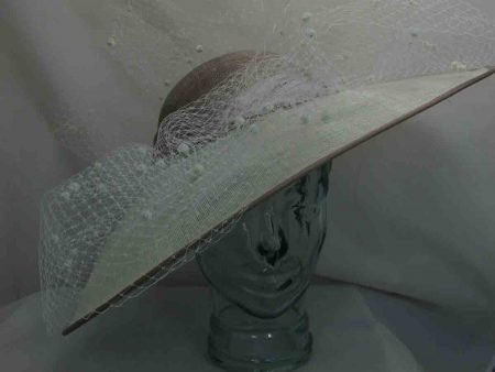 Sweeping brim hatinator in ivory and nude
