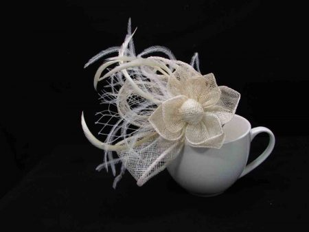 flower fascinator cream