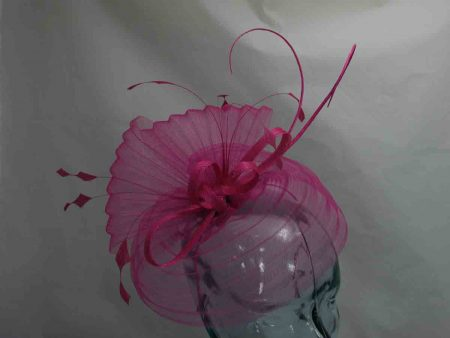 Pleated crin fascinator in hot pink