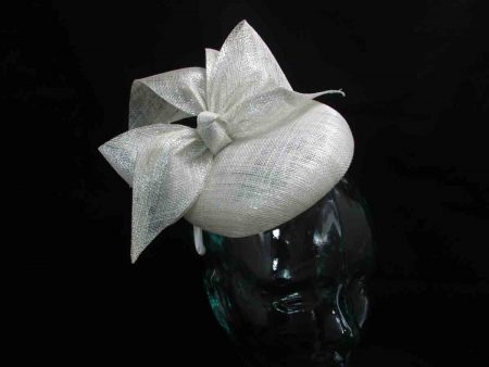 Sinamay pillbox fascinator in ivory lurex