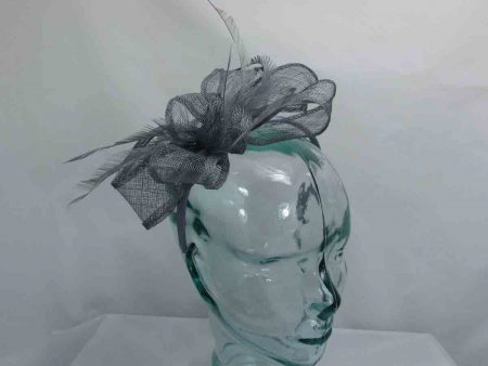 Sinamay looped fascinator in grey