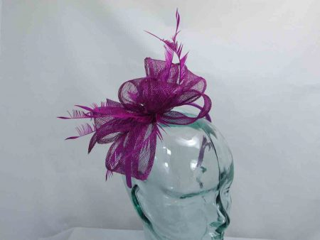 Sinamay looped fascinator in plum