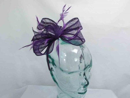 Sinamay looped fascinator in purple