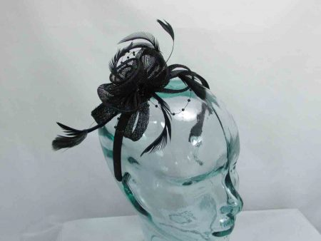 Sinamay and beading fascinator in black