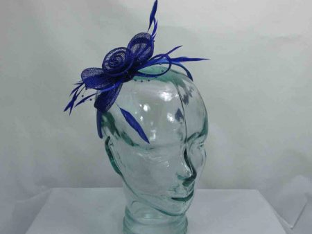 Sinamay and beading fascinator in royal blue