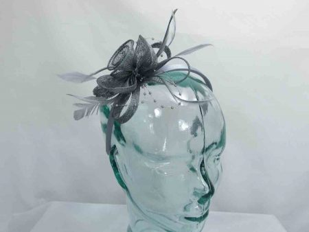Sinamay and beading fascinator in grey