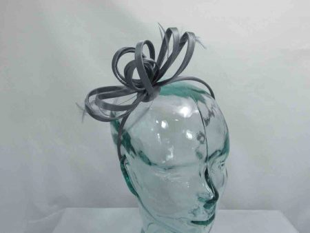Satin fascinator in slate grey