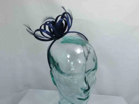 Satin fascinator in navy