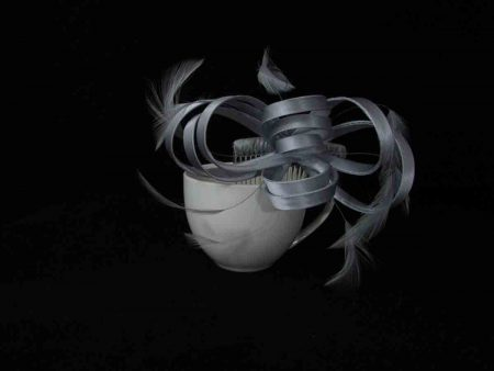 Satin fascinator in silver