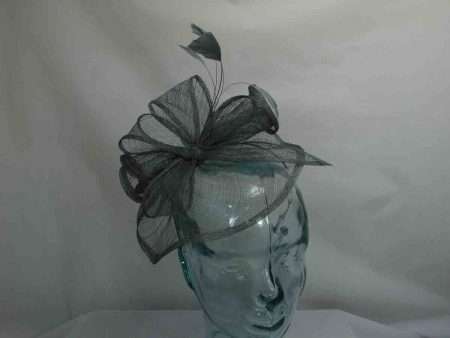 Sinamay looped fascinator pewter