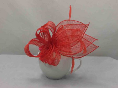 Coral looped fascinator