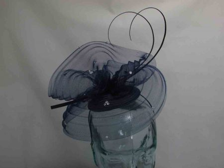 Netted swirl fascinator in navy