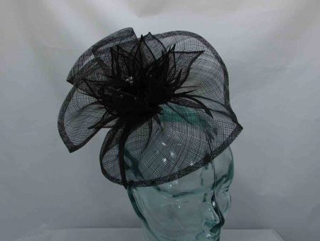 Sinamay fascinator with diamante centre in black