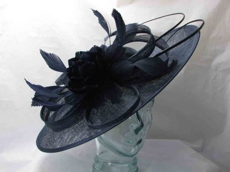 Large hatinator with feathered flowers in navy