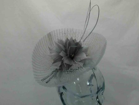Pleated crin fascinator in almond