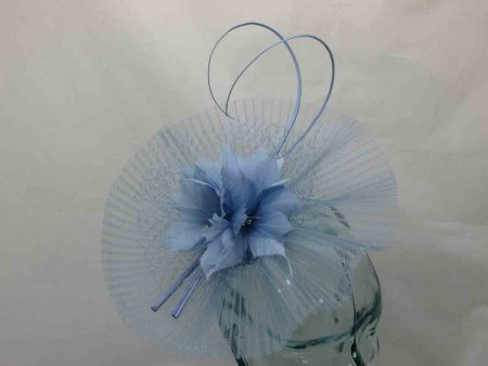 Pleated crin fascinator in bluebell