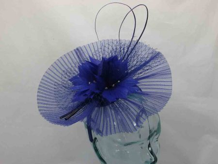 Pleated crin fascinator in marine blue