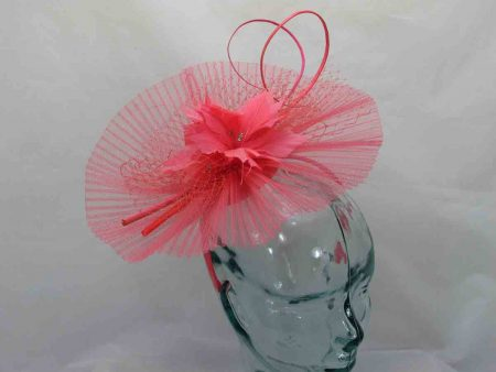 Pleated crin fascinator in tangerine