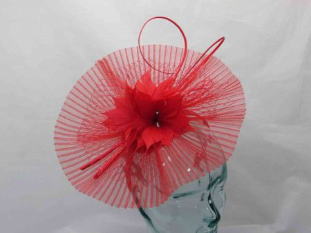 Pleated crin fascinator in tulip red
