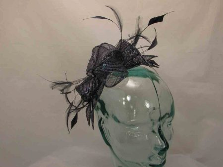 Double flower fascinator in navy with silver lurex