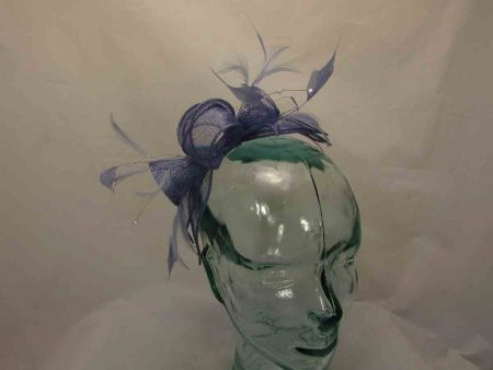 Double flower fascinator in periwinkle