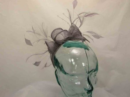 Double flower fascinator in thistle silver