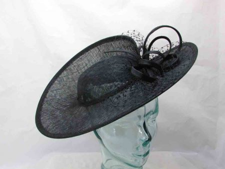 Three quarter brim sinamay hatinator in black