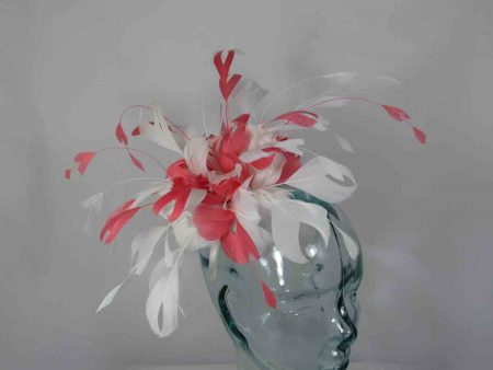 Two tone feathered fascinator in flamingo pink and ivory