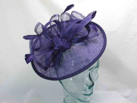 Medium sinamay fascinator in imperial purple