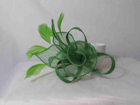 Sinamay flower fascinator green