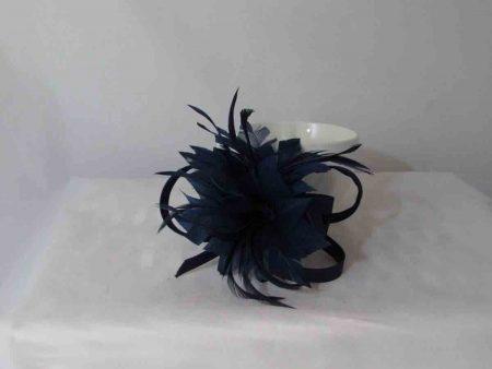 Feather flower fascinator navy