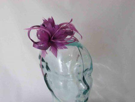 Satin fascinator with feathers flower in plum