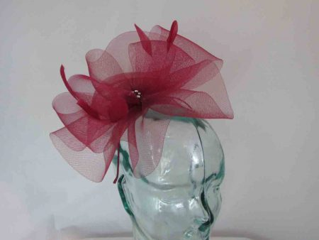Crin fascinator in burgandy