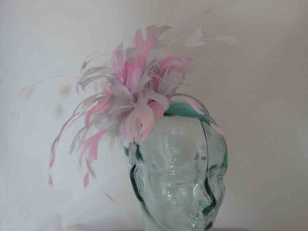 Two tone feathered fascinator in wild rose pink and silver