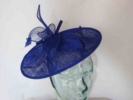Cobalt blue hatinator with sinamay flower