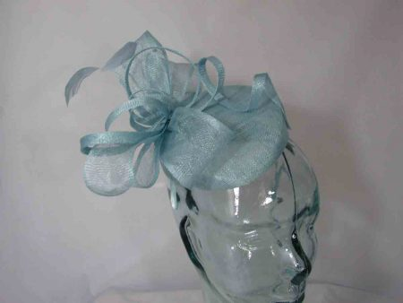 Pillbox with sinamay bow in baby blue