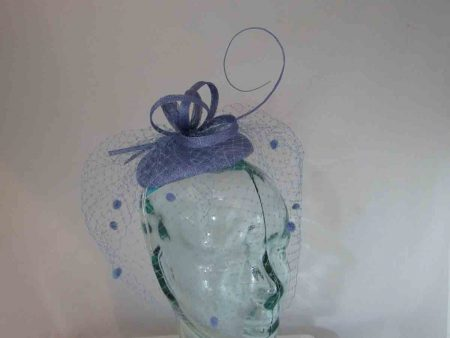 Pillbox  fascinator with netted detail in periwinkle