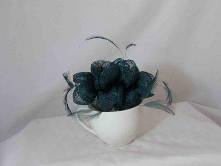 Small flowered sinamay fascinator teal
