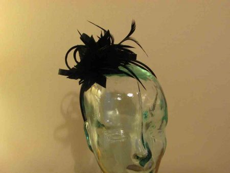 Satin fascinator with feathers flower in black