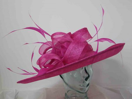 Sinamay hatinator with loops in flamingo pink