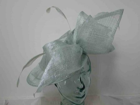 Three quarter brim sinamay hatinator with side bow in metallic peppermint
