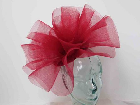 Pillbox fascinator with crin in rouge red
