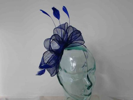 Looped sinamay fascinator in royal blue